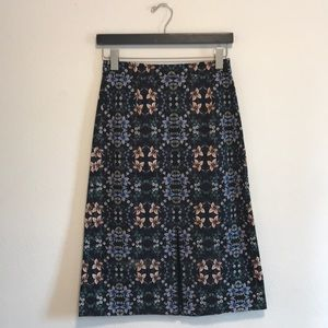 J.Crew floral print with Black Size 2 Pencil Skirt